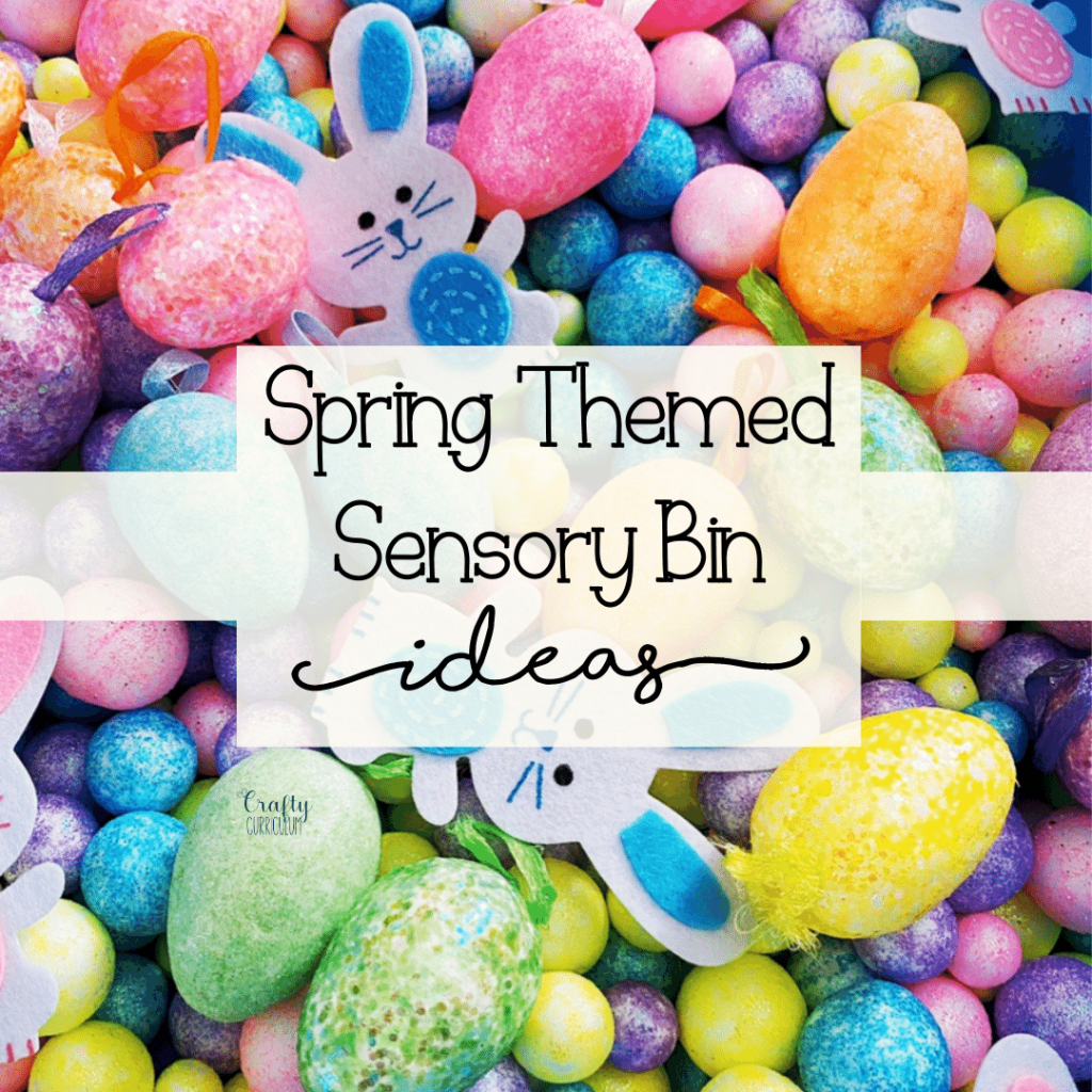 Sensory Bin full of spring colors, easter bunnies, eggs, and pastel beads