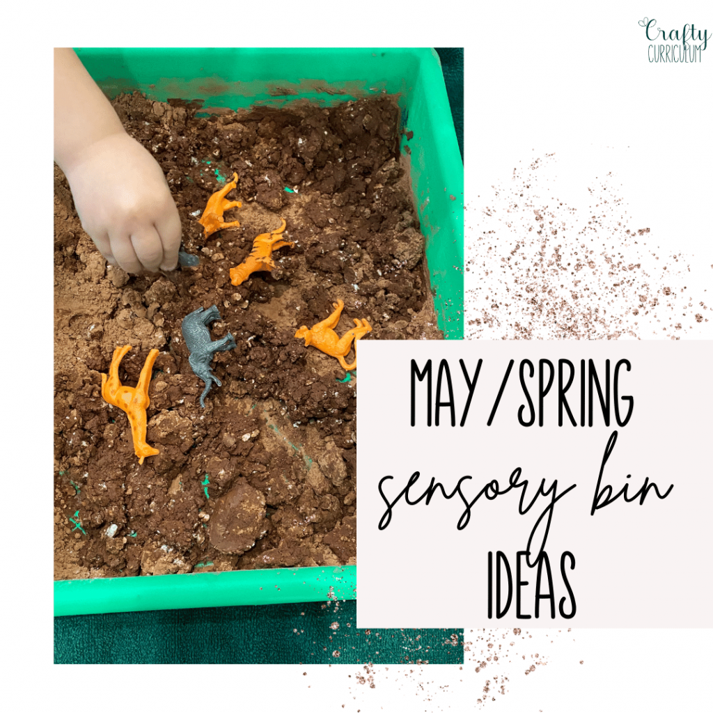 May Sensory Bin Ideas with child playing in editable mud