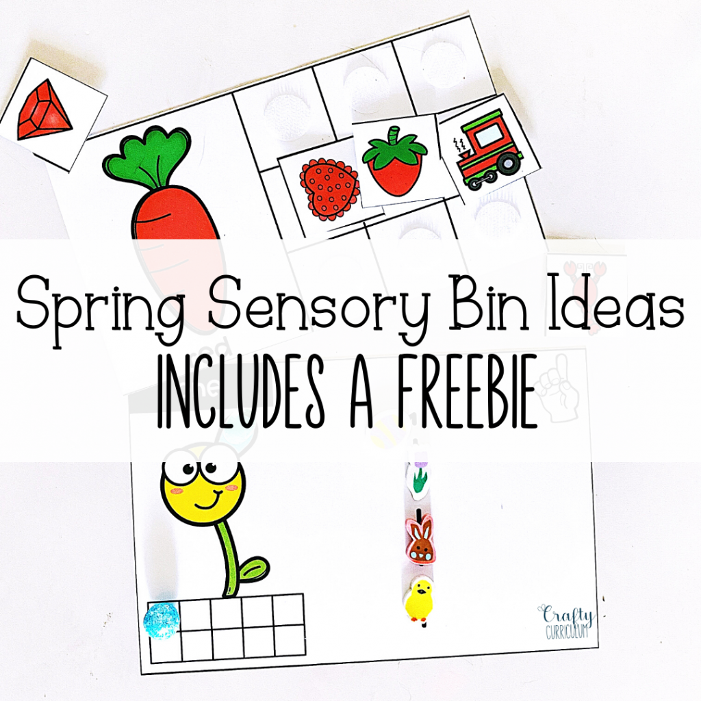 Spring Color matching and counting activity labeled for spring activities with a freebie